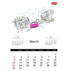 Calendar 2014 march Streets of the city sketch for vector image vector image