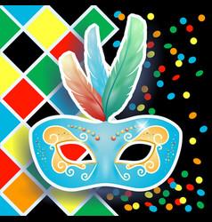 carnival mask on harlequin background vector image
