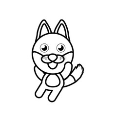 cartoon fox animal outline vector image vector image