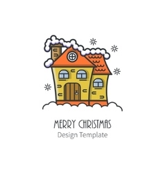 Christmas house in a linear style vector