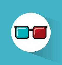 cinema 3d glasses accessory movie icon vector image vector image