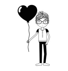 Contour man with mustache and heart balloon in the vector