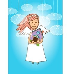Cute angel holding a house vector