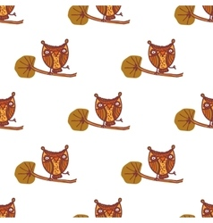 Cute little owls Seamless pattern vector image