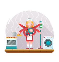 cute young housewife with child accessories icons vector image vector image