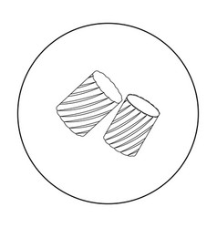 Ditalini pasta icon in outline style isolated on vector