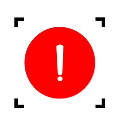 Exclamation mark sign red icon inside vector