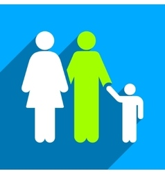 Family flat square icon with long shadow vector