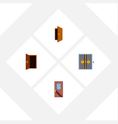 flat icon approach set of lobby entry door and vector image vector image