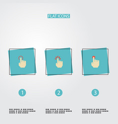 Flat icons nudge touch hold and other vector