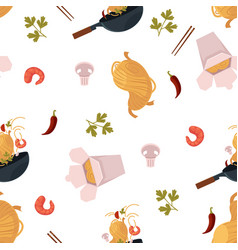 Flat udon noodles wok seamless pattern vector