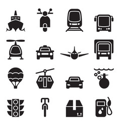 front view of vehicle transportation icon set vector image vector image