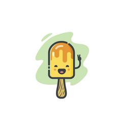 Funny banana ice cream icon vector