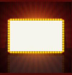 Glowing retro light banner for text vector image