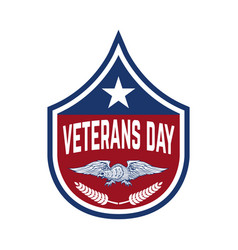 Happy veterans day emblem template isolated on vector