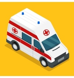 Isometric ambulance carv emergency medical van vector