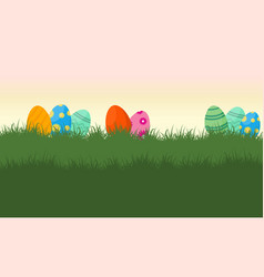 Landscape of easter egg on grass vector