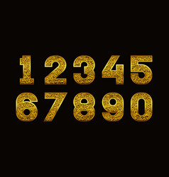 Numbers with golden glitter texture vector