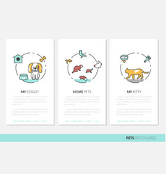 pets business brochure linear thin line icons vector image
