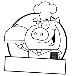 Pig waiter cartoon vector image