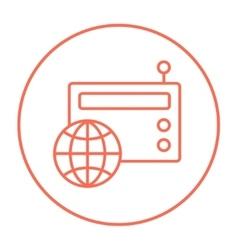 Retro radio line icon vector