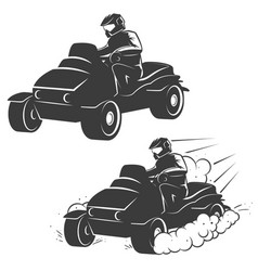 Set of quad bike with driver icons isolated on vector