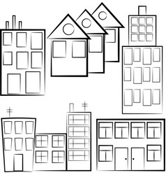 set of separated buildings outlined houses vector image