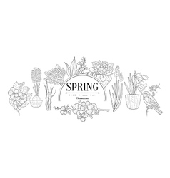 Spring set vintage sketch vector