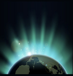 sunburst over the world globe vector image