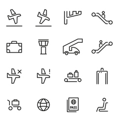 thin line icons - airport vector image vector image