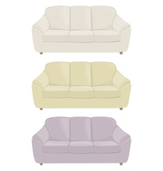 three sofas in different colors vector image vector image