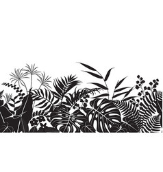 tropical plants silhouette pattern vector image vector image