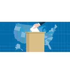 Usa map vote election hand holding ballot paper vector