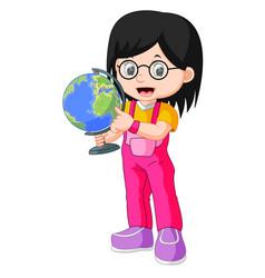 young teenager girl holding globe vector image