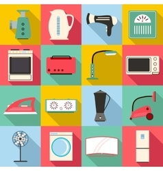 Household appliances icons set flat style vector