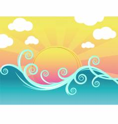 sunset and waves vector image