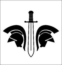 helmet and sword vector image