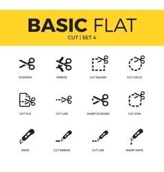 Basic set of cut icons vector image