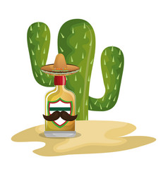 Background cactus with bottle of tequila vector