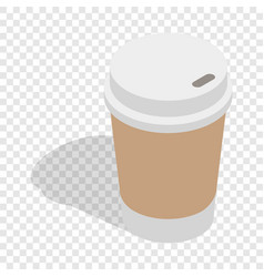 Paper cup of coffee isometric icon vector
