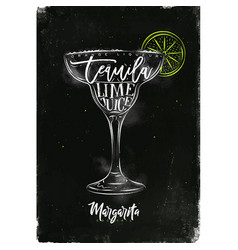Margarita cocktail chalk color vector