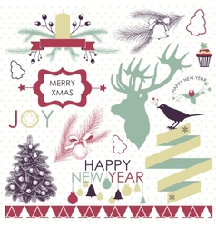 Collection of christmas and new years elements vector