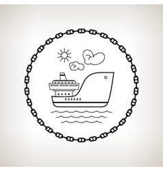 Silhouette cargo ship on a light background vector