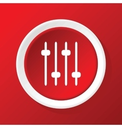 Faders icon on red vector