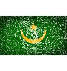Flags mauritania with broken glass texture vector