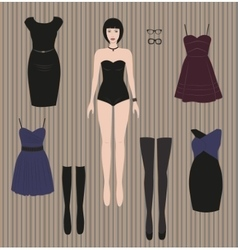 Dress up paper doll vector