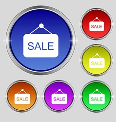 Sale icon sign round symbol on bright colourful vector