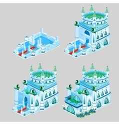 Stages of construction ice kingdom four icons vector