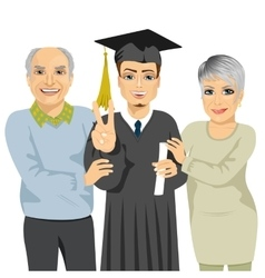 Grandparents proud of grandson holding diploma vector
