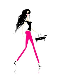 Fashion girl with bag for your design vector
